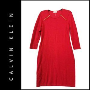 Calvin Klein Women Sheath Dress Red Size Medium